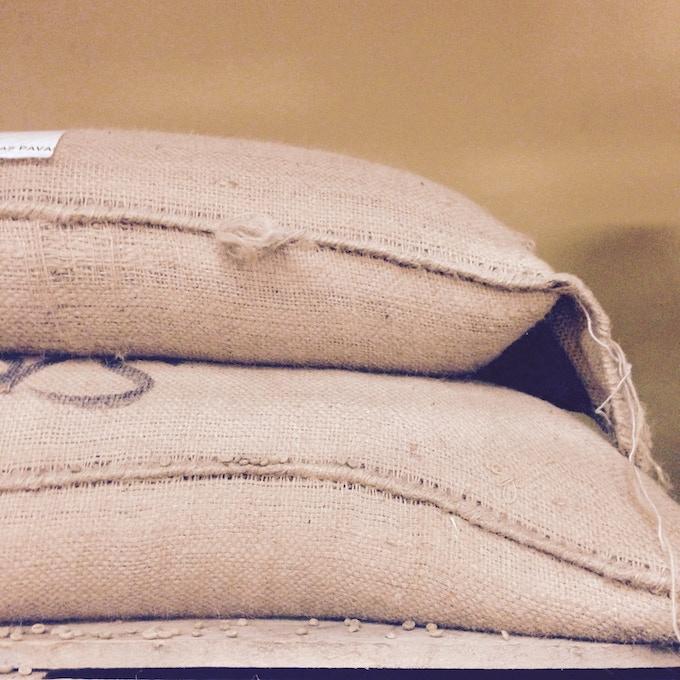Sacks of green coffee beans