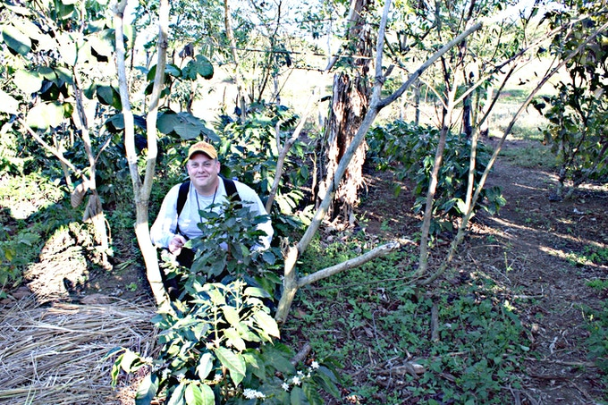Jim with coffee trees in Nicaragua