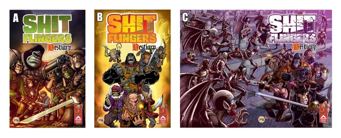 Cover A - Art by Andrew Hartmann, Colours by Jimmy Kerast. Cover B - Art by Barry Stay Broke McClean, Colours by Hector Rubilar. Cover C - Art by Renzo Rodriguez. Layouts and Logo A, B & C by Renzo Rodriguez & Ken Reynolds. CLICK IMAGE TO ENLARGE