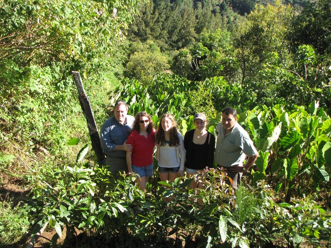 Pellegrini family (Jim, Debbie, Emily, and Courtney) at a coffee farm in Costa Rica