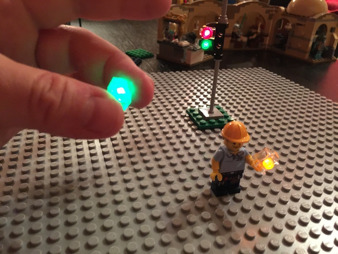 Minifig and myself with (4) working i-Brix pieces (minifig is on the right)