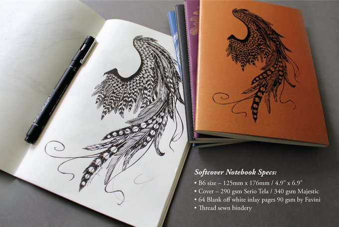 "Peisy's original ""Dark Angel"" sketch shown beside the final notebook prototype."
