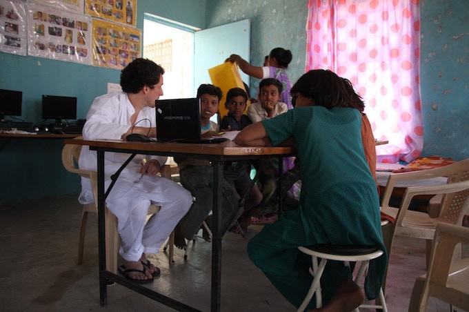 Aurangabad, India: practicing flashcards at the orphanage