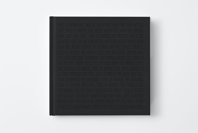 This is Nowhere — black debossed text on black clothbound hardback cover
