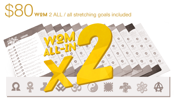 Pledge $80 to get 2 WOM ALL-IN packs. All achieved mythologies and worldwide shipping are included! Hindu gods deck guaranteed!
