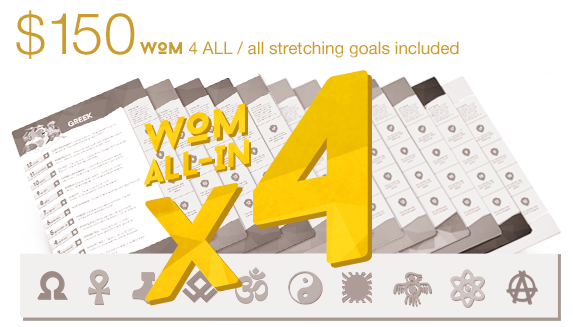 Pledge $150 to get 4 WOM ALL-IN packs. All achieved mythologies and worldwide shipping are included! Hindu gods deck guaranteed!