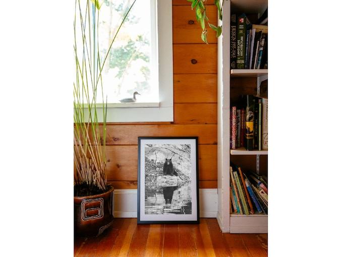 """16"""" x 24"""" framed Fortune Bear. (For reference. Reward prints come unframed.)"""