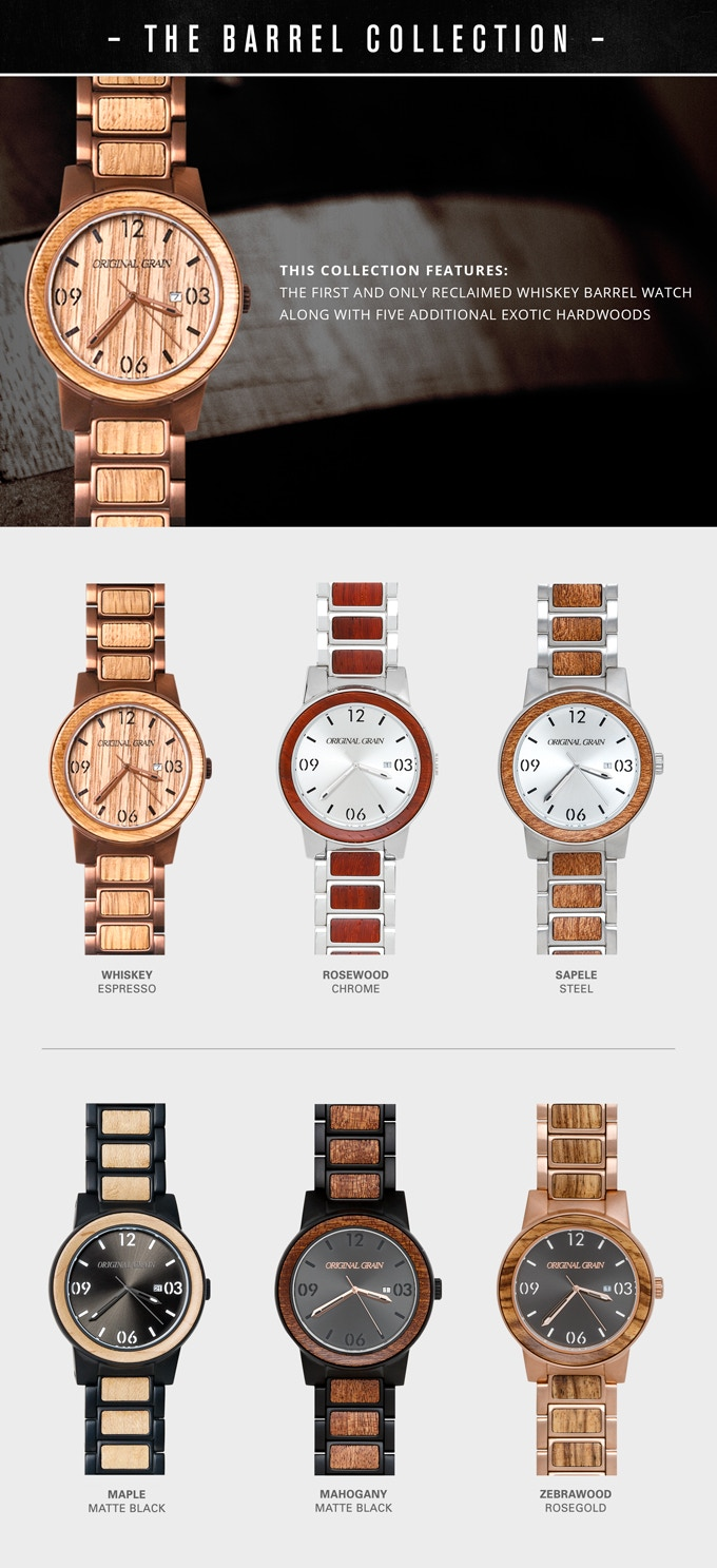 The Barrel Handcrafted Watch Made W Whiskey Barrel Wood
