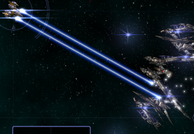 JUNE 8: Gameplay screenshot featuring a random sample from the latest version of dynamic enemy ship generation, and the latest player weapon.