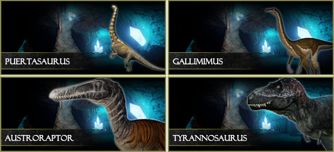 The demo features four playable dinosaurs