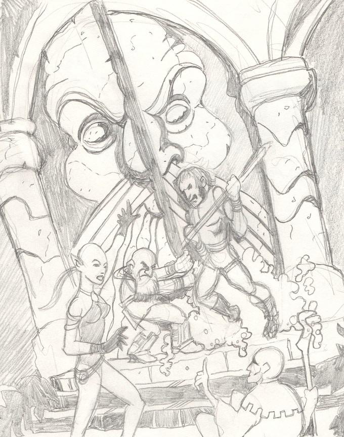 Initial cover art work-in-progress sketch