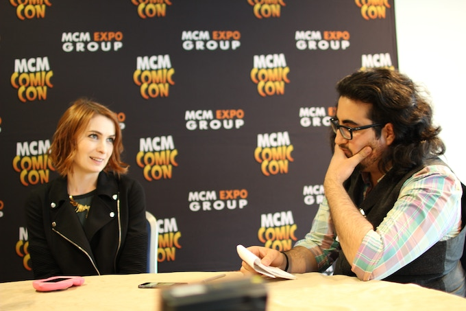 Karim interviewing Felicia Day of Supernatural, Dr. Horrible's Sing-A-Long Blog & The Guild.