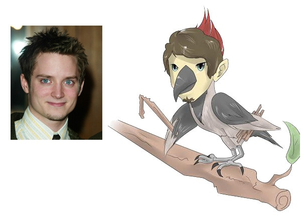 Artist rendering of Elijah Wood as a Woodpecker