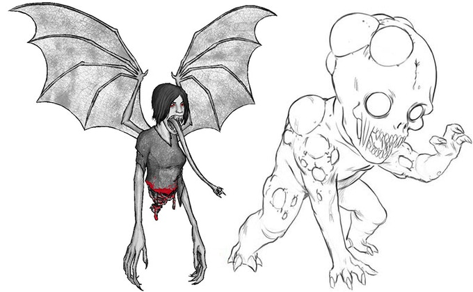 Manananggal (left) / Tiyanak (right)