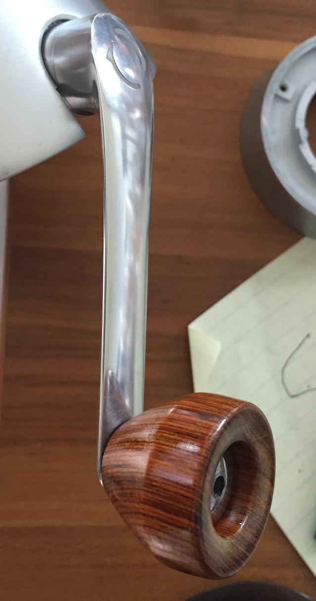 Handground side mounted handle. Diecast aluminum and wood nob
