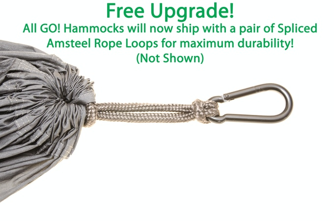 Free Upgrade! Every GO! Hammock will now ship with upgraded Amsteel Spliced Rope Loops!