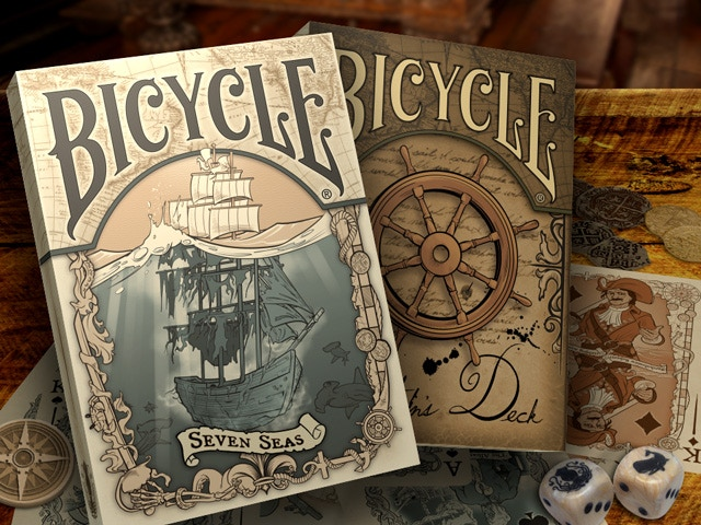 Bicycle® Seven Seas Playing Cards Printed by the USPCC. 36 illustrated tales of Ghost Ships, Pirates, and Sea Creatures.