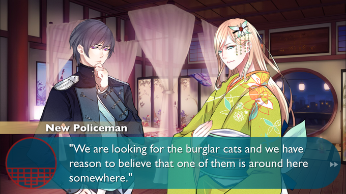 In-game scene featuring 2 characters talking