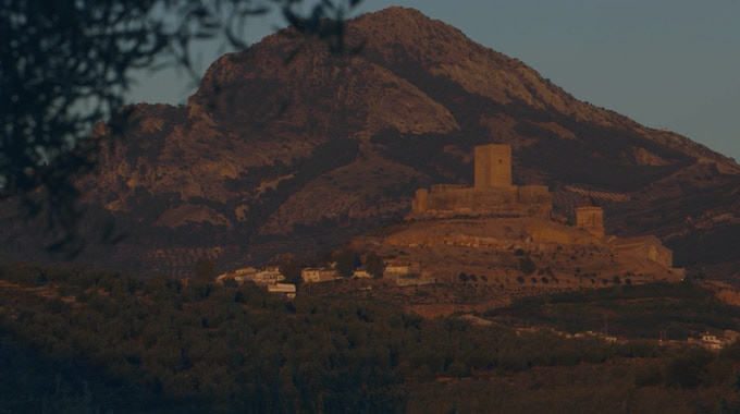 Sunset in Alcaudete. The topography is classic Andalucia.
