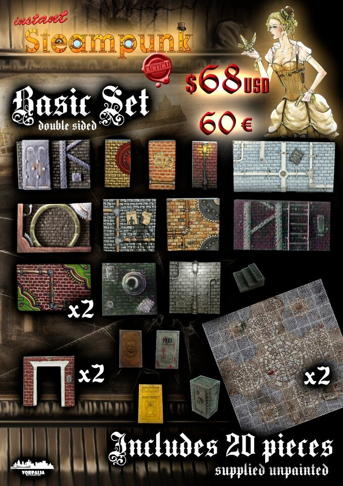 Steampunk Basic Set details: includes 20 pieces and 2 printed metal plates