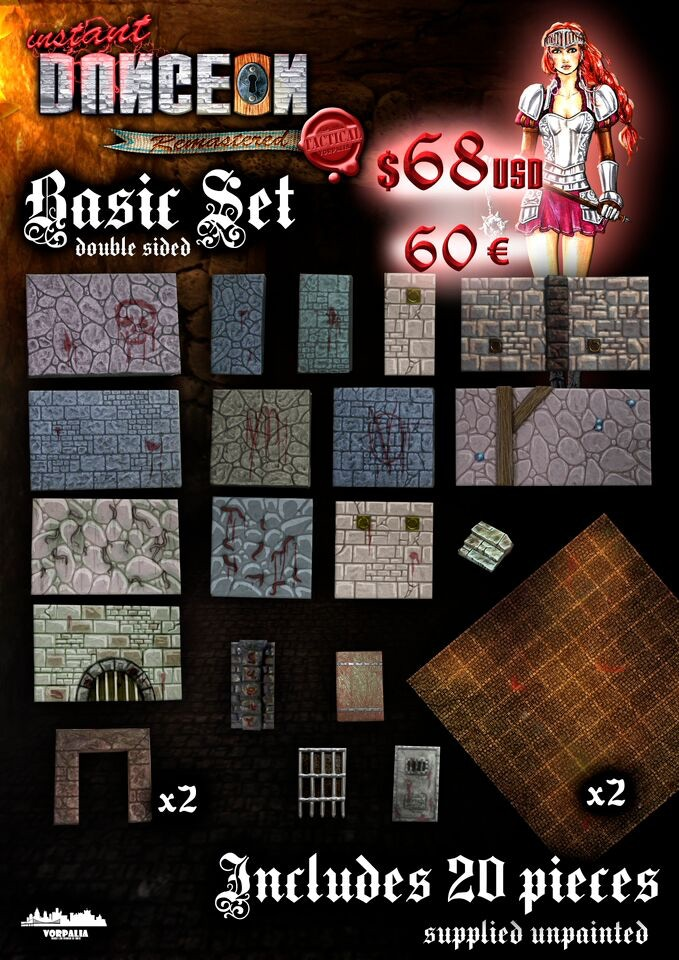 Remastered Basic Set details: includes 20 pieces and 2 printed metal plates