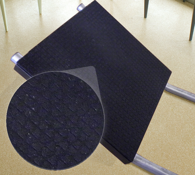 Footrest is made from anti-fatigue, anti-slip material.