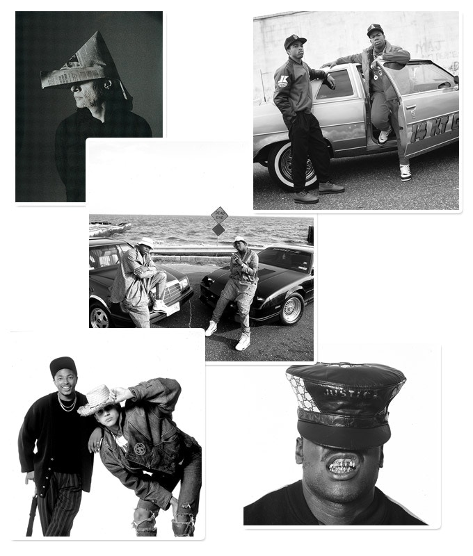 (Clockwise, from top left:) Arthur Russell, Craig Mack, EPMD, Just-Ice, and Mantronix