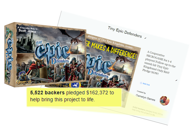 Click to visit the Tiny Epic Defenders Kickstarter page.