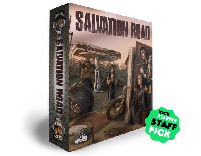 Salvation Road is a cooperative game for 1-4 players set in a post-apocalyptic world ravaged by famine, pestilence, war, and death.