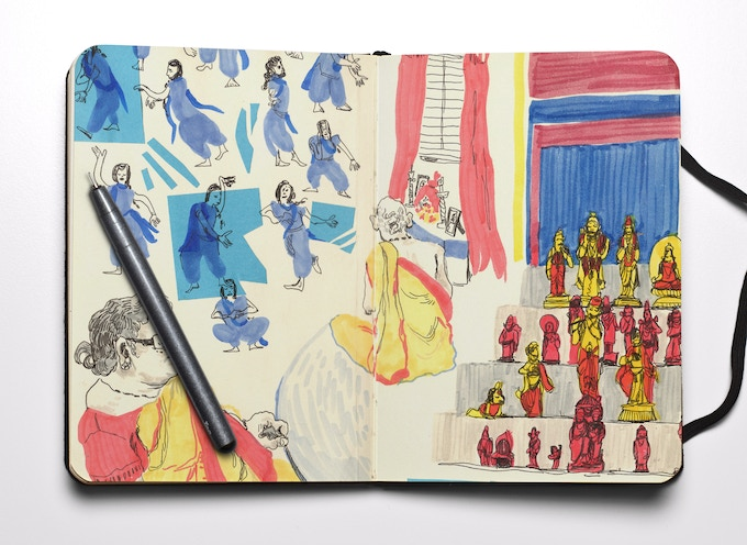 This colourful display is by Rhea Dadoo, one of the featured artists in the How to Keep a Sketch Journal guide book