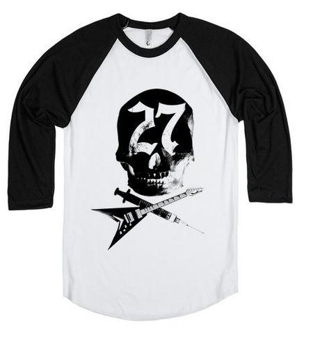 Baseball style t-shirt, sizes XS-XXL