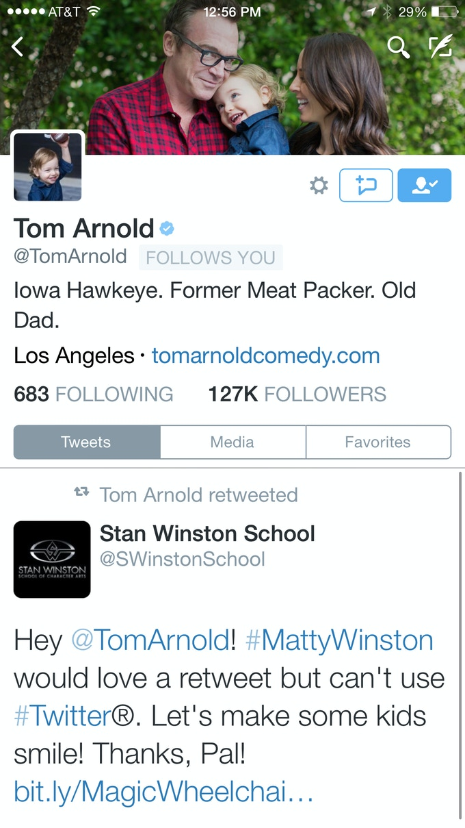 Mr. Tom Arnold, people! Thanks!