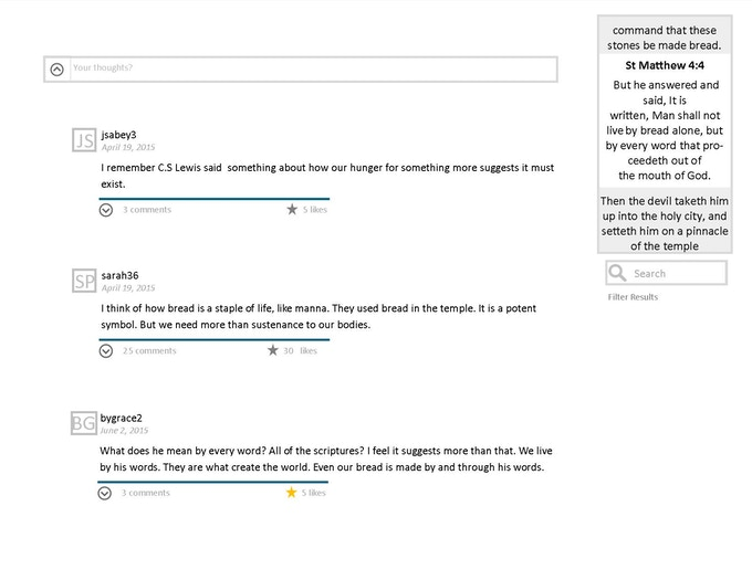mock up of comments section on a verse