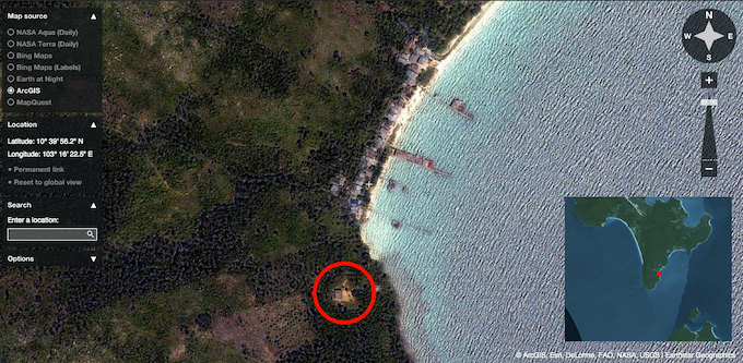 The location of the school in the village of Koh Touch