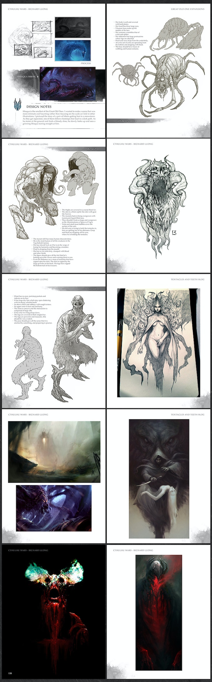 Preview of the pages in the art book.