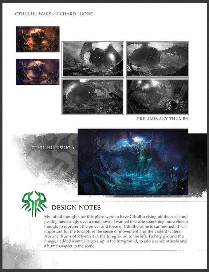 A look inside the art design notes of Cthuhlu Wars