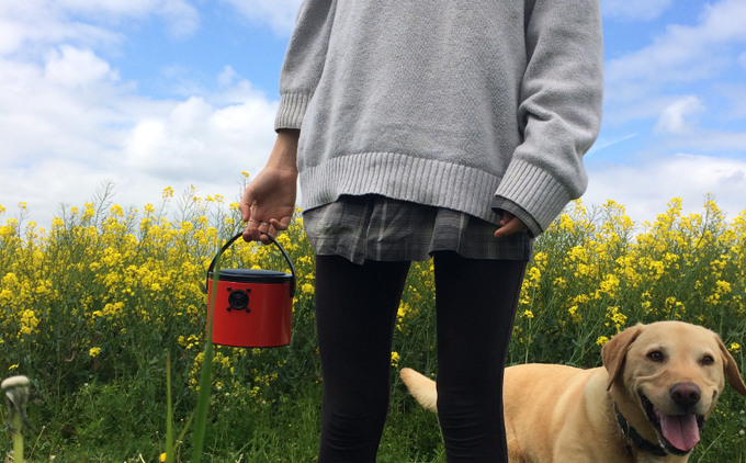 Easy to pick up with the real leather handle, use your SoundBucket anywhere