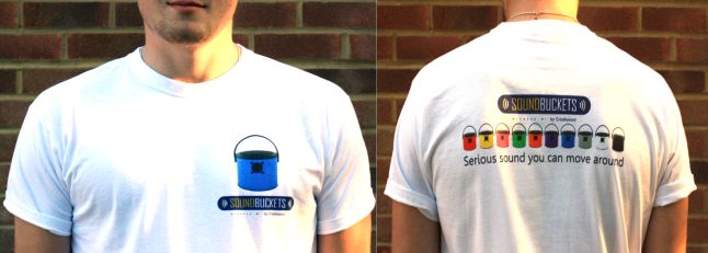 Great high quality T shirts, with your colour SoundBucket on the front!