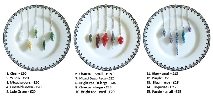 Choose which colour & size pendant you like - only one of each available
