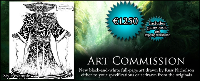 ART COMMISSION: Commission Russ Nicholson for a new black-and-white scene or a redrawn scene from the 1990s series, and receive the physical art (€1250, approx. $1380, includes GAMEBOOK)
