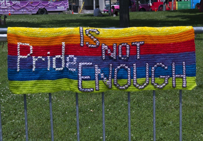 Banner at the 2014 Dyke March, Toronto