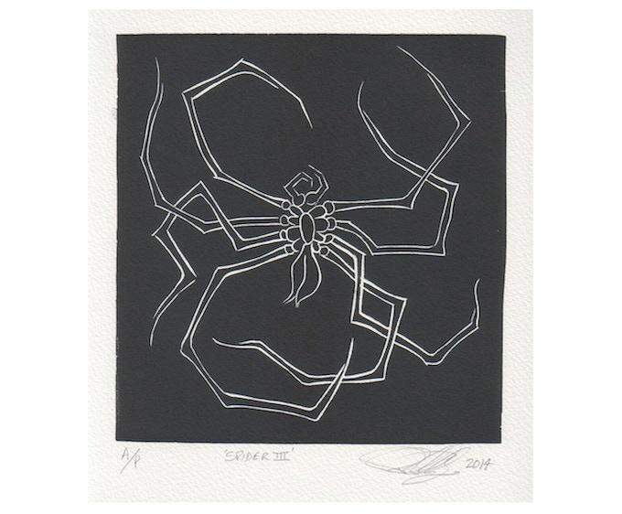 £195: Peter Randall-Page, Spider III 2014, artist proof, linoprint, 17 x 16.5 cm.