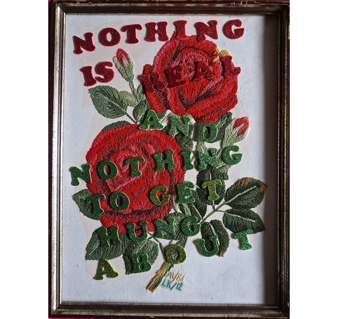 £200: Laura Kikauka, Strawberry Roses (forever), embroidery, 34cm x 44cm. Framed.