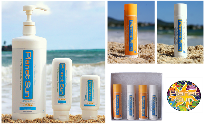 32 ounce Team Pump, 4 ounce, and 2 ounce tubes.   Lip balms and lip balm 4 pack and  our Groovy Sun stickers