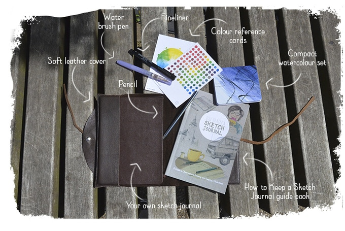 The different elements for the full How to Keep a Sketch Journal package