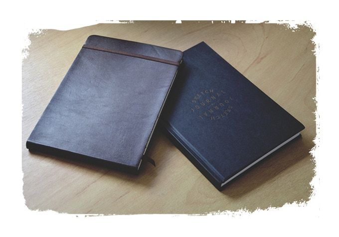 The landscape premium watercolour journal and the portrait hardback journal