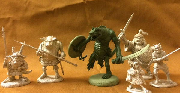 Size Comparison Picture of the Lizardman with other various miniatures in this project. He is HUGE!