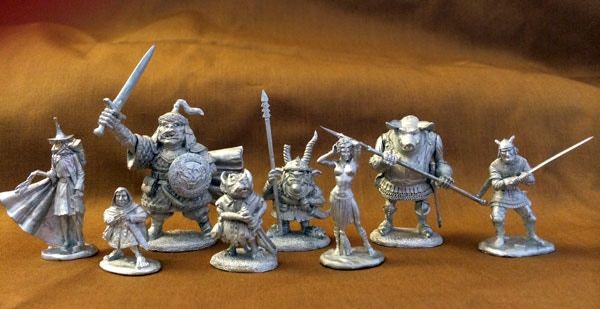 A size comparison picture of the Hobgoblin and Orc Miniatures with some other miniatures in this project. They are big brutes!