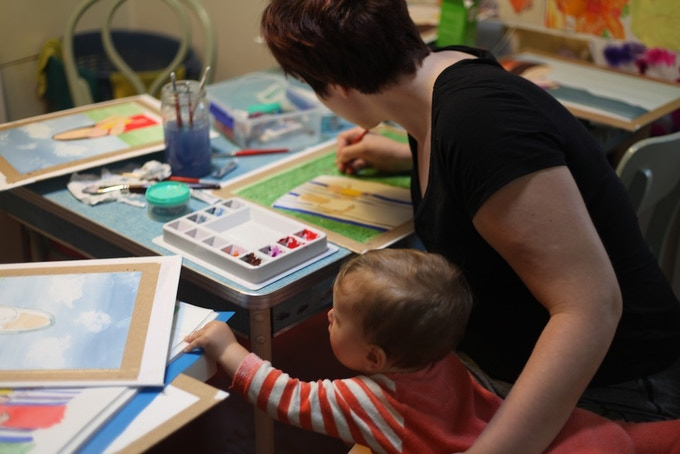 Beth and baby Clem illustrating the book