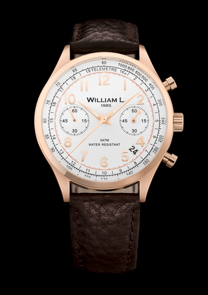 Vintage Chronograph Rose Gold William L. 1985
